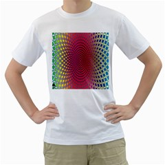 Abstract Circle Colorful Men s T Shirt (white) (two Sided)