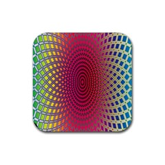 Abstract Circle Colorful Rubber Square Coaster (4 Pack)