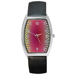 Abstract Circle Colorful Barrel Style Metal Watch