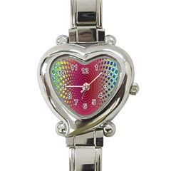Abstract Circle Colorful Heart Italian Charm Watch