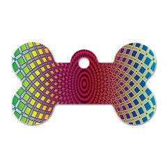 Abstract Circle Colorful Dog Tag Bone (one Side)