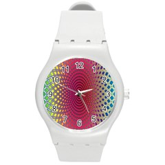 Abstract Circle Colorful Round Plastic Sport Watch (M)