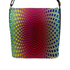 Abstract Circle Colorful Flap Messenger Bag (L)