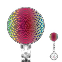 Abstract Circle Colorful Stainless Steel Nurses Watch