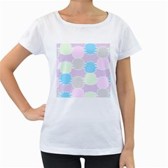 Pineapple Puffle Blue Pink Green Purple Women s Loose Fit T Shirt (white)