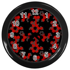 Red Digital Camo Wallpaper Red Camouflage Wall Clocks (black)