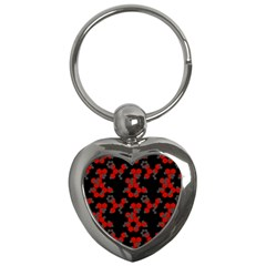 Red Digital Camo Wallpaper Red Camouflage Key Chains (heart)