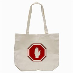 Road Sign Stop Hand Finger Tote Bag (cream)