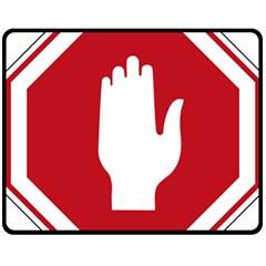 Road Sign Stop Hand Finger Fleece Blanket (medium)