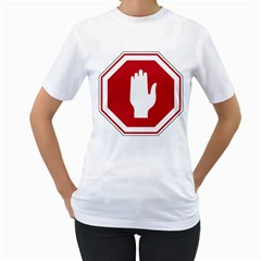 Road Sign Stop Hand Finger Women s T Shirt (white)