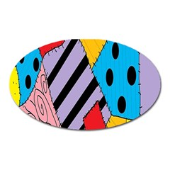 Sally s Patchwork Pattern Oval Magnet