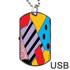 Sally s Patchwork Pattern Dog Tag Usb Flash (one Side)
