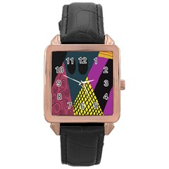 Sally Skellington Fabric Rose Gold Leather Watch