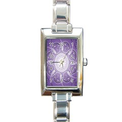 Purple Background With Artwork Rectangle Italian Charm Watch