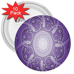 Purple Background With Artwork 3  Buttons (10 Pack)