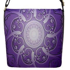 Purple Background With Artwork Flap Messenger Bag (s)