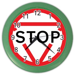 Stop Sign Color Wall Clocks