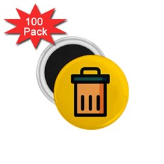 Trash Bin Icon Yellow 1 75  Magnets (100 Pack)