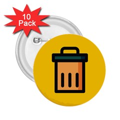 Trash Bin Icon Yellow 2 25  Buttons (10 Pack)