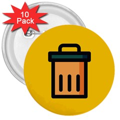 Trash Bin Icon Yellow 3  Buttons (10 Pack)