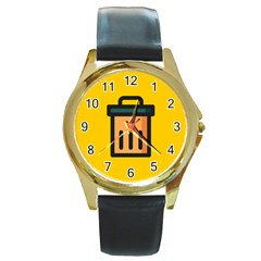 Trash Bin Icon Yellow Round Gold Metal Watch