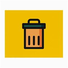 Trash Bin Icon Yellow Small Glasses Cloth