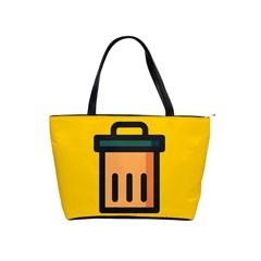 Trash Bin Icon Yellow Shoulder Handbags