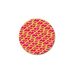 Typeface Variety Postcards Unique Illustration Yellow Red Golf Ball Marker (4 Pack)