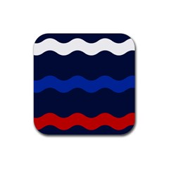 Wave Line Waves Blue White Red Flag Rubber Square Coaster (4 Pack)