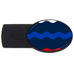 Wave Line Waves Blue White Red Flag Usb Flash Drive Oval (2 Gb)