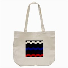 Wave Line Waves Blue White Red Flag Tote Bag (cream)