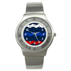 Wave Line Waves Blue White Red Flag Stainless Steel Watch