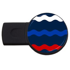 Wave Line Waves Blue White Red Flag Usb Flash Drive Round (4 Gb)