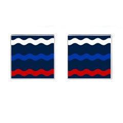 Wave Line Waves Blue White Red Flag Cufflinks (square)