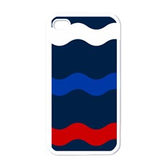 Wave Line Waves Blue White Red Flag Apple Iphone 4 Case (white)