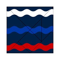 Wave Line Waves Blue White Red Flag Acrylic Tangram Puzzle (6  X 6 )