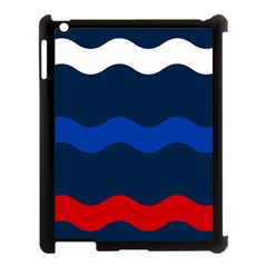 Wave Line Waves Blue White Red Flag Apple Ipad 3/4 Case (black)