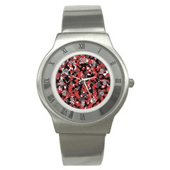 Spot Camuflase Red Black Stainless Steel Watch