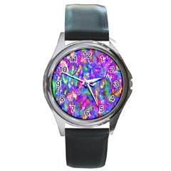 Abstract Trippy Bright Sky Space Round Metal Watch