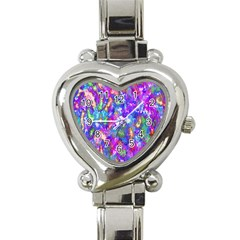Abstract Trippy Bright Sky Space Heart Italian Charm Watch