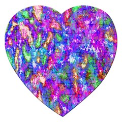 Abstract Trippy Bright Sky Space Jigsaw Puzzle (heart)
