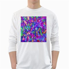 Abstract Trippy Bright Sky Space White Long Sleeve T Shirts