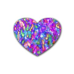 Abstract Trippy Bright Sky Space Rubber Coaster (heart)