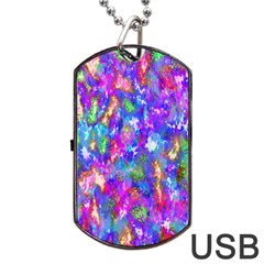 Abstract Trippy Bright Sky Space Dog Tag USB Flash (One Side)