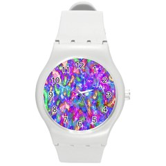 Abstract Trippy Bright Sky Space Round Plastic Sport Watch (M)
