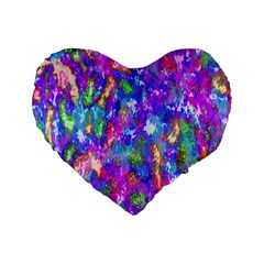 Abstract Trippy Bright Sky Space Standard 16  Premium Heart Shape Cushions
