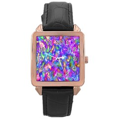 Abstract Trippy Bright Sky Space Rose Gold Leather Watch