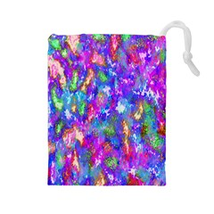Abstract Trippy Bright Sky Space Drawstring Pouches (large)