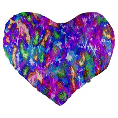 Abstract Trippy Bright Sky Space Large 19  Premium Flano Heart Shape Cushions