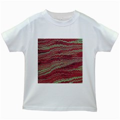Scaly Pattern Colour Green Pink Kids White T Shirts